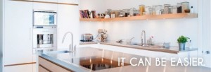 Modern kitchen and stainless steel counters