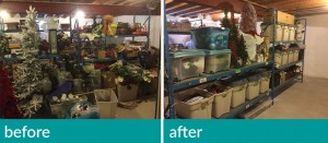 basement storage before and after